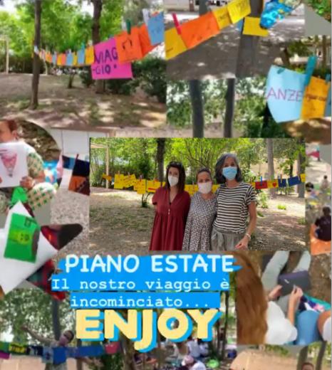 """Foto di gruppo delle docenti impegnate nei laboratori di italiano del Piano Estate. Con scritta """"Il nostro viaggio è incominciato... Enjoy"""""""